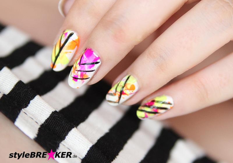 Neon Splatter Nails Tutorial Nailart Nageldesign 1l