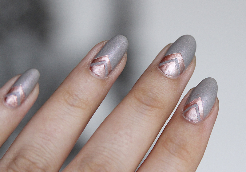Nailart Rosegold & Grey - Fertig 1