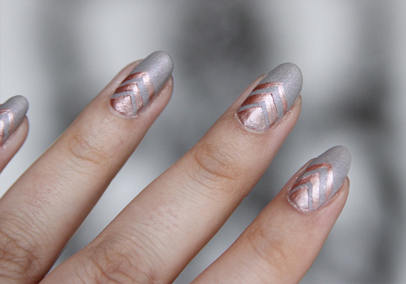 Nailart Rosegold & Grey - Fertig 2